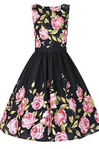 Vintage Skater Dress,Floral Round Neck Knee-length Sleeveless Black Cotton dress