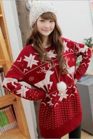 Cute deer maple leaf print chrismas sweater