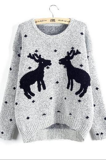 Cute Chrismas Reindeer women sweater two fawn knit sweater coat