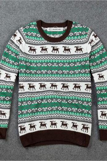 Chrismas deer reindeer knit sweater coat