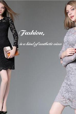 Long sleeve slim lace bodycon dress