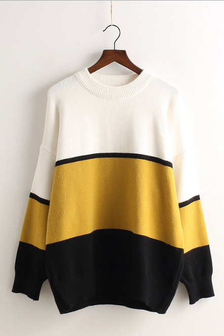 Contrast Color Pullover Knit Sweater