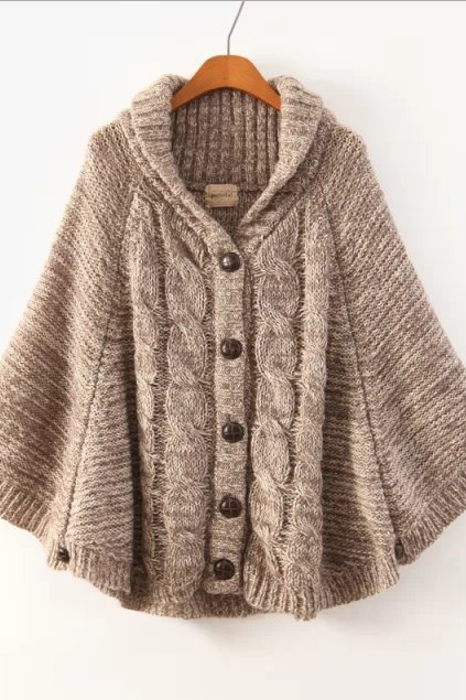Fashion Hooded Batwing Single Button Cable Short Cardigan