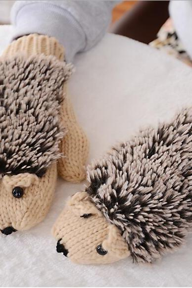 Cotton hedgehog knit gloves