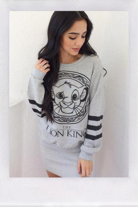 grey color Lion King Sweater