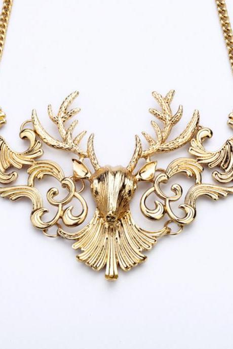 Christmas Deer Head Necklace