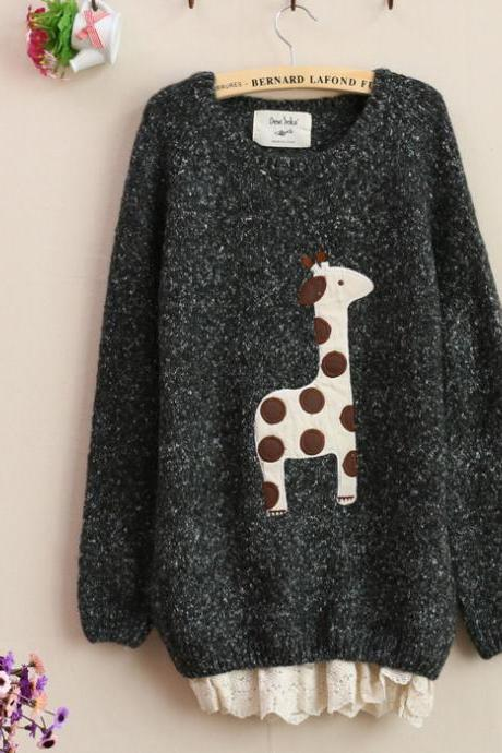 Giraffe Long sleeve knit loose Sweatershirt