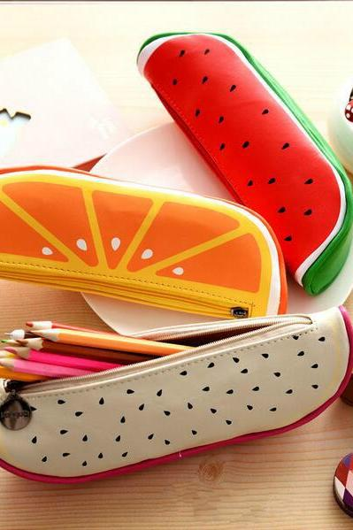 Korean Stationery Fruit Pen Pouch Pencil Pouch Leather Pencil Bag #31