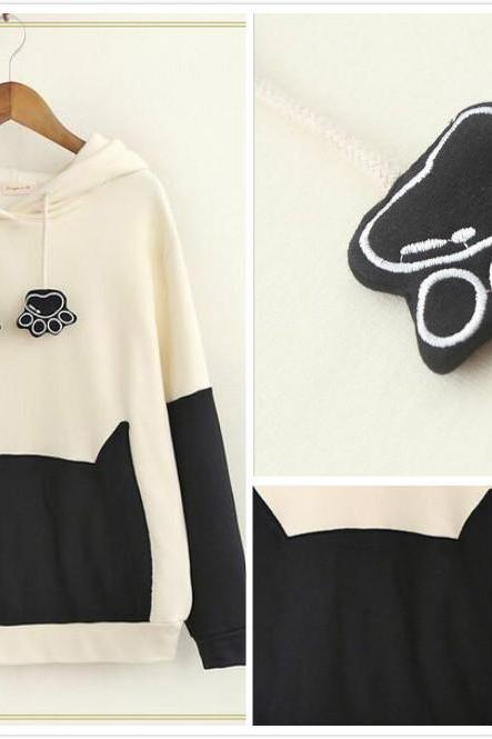 Free shipping Cartoon cat loose hooded sweater #449