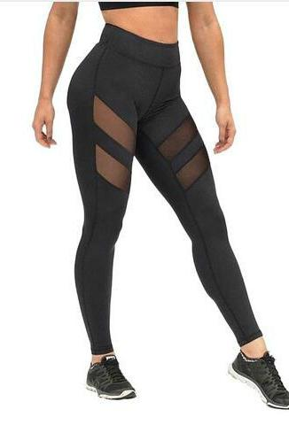 women harajuku mesh splice slim black sport leggings running legging gym leggings #173