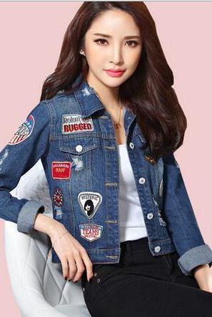 Free shipping Harajuku Trinket patch slim long sleeve Denim jacket coat #281
