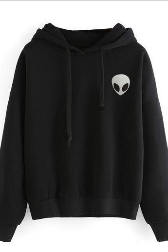 Free shipping alien embroidery long sleeve hoodie sweater#370