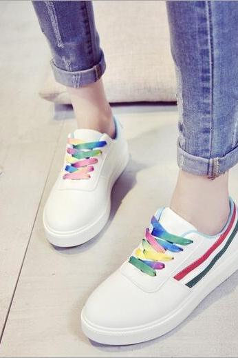 Free shipping Harajuku rainbow canvas sport shoes #321