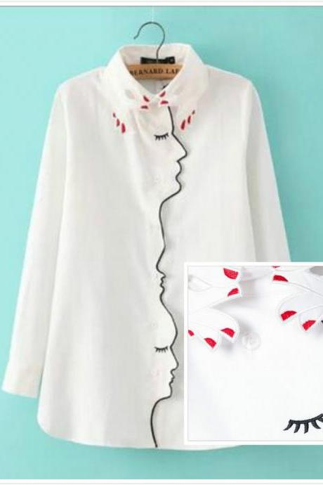 Free shipping Fingers Collar face placket embroidery blouse shirt #361