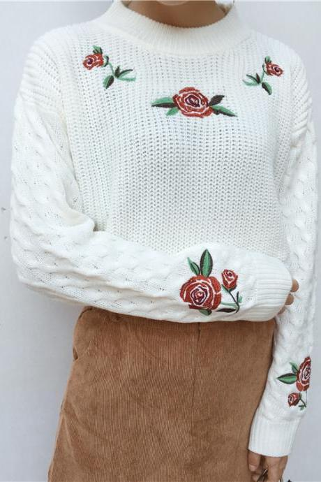 Free shipping retro rose embroidery sweater #YYL27