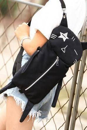 Free shipping Harajuku Embroidery wacky cat backpack shoulder bag #302