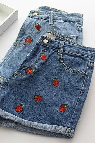 Strawberry Embroidery Denim Shorts