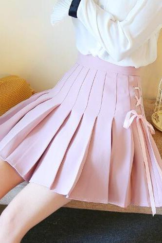 Lace Up Pleated A-line Skirt