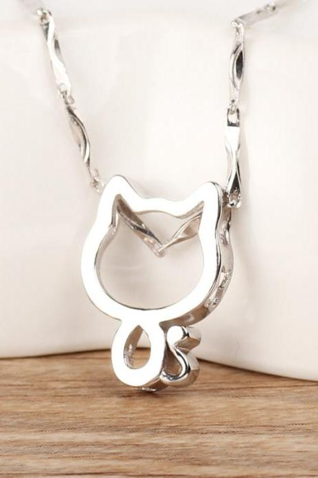 925 pure sliver cute cat animal necklace