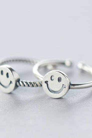 Fashion smiling face sterling silver ring