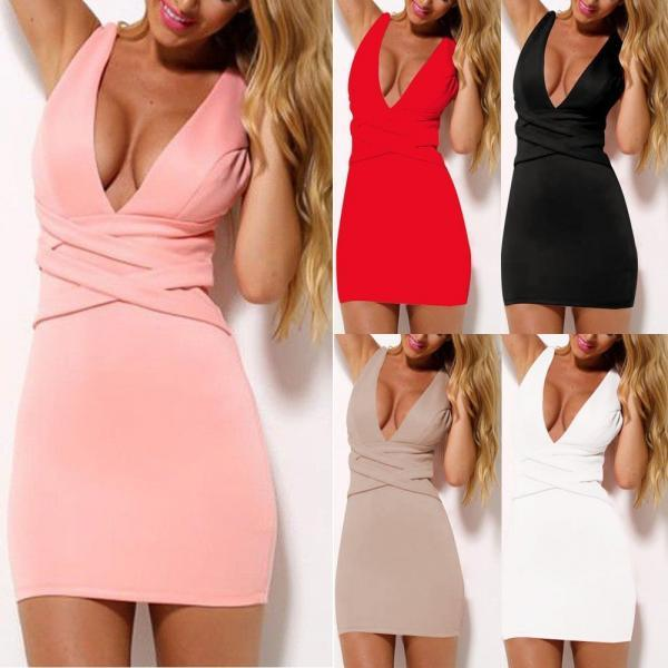 V-Neck Short Mini Dress Sexy Summer Bodycon Evening Party Cocktail