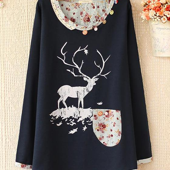 Dark blue /Gray color sweet elk print sweater