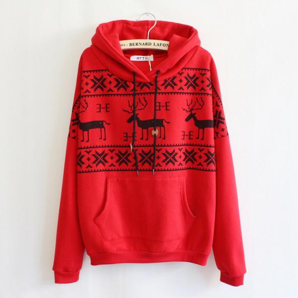 Red Deer Hooded Sweatershirt
