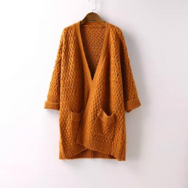 Women Fashion Casual Curling Bat Sleeve Pocket Loose Knit Cardigan Sweater Coat