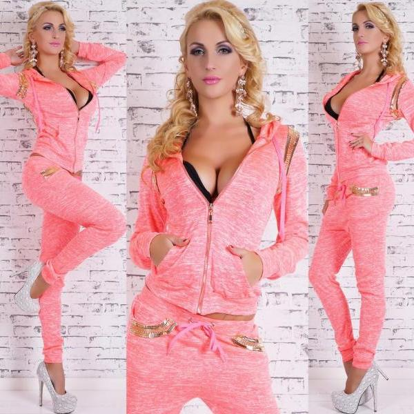 Casual Long Sleeves Sequined Decorated Pink Two-piece Regular Cardigan Sweater Set
