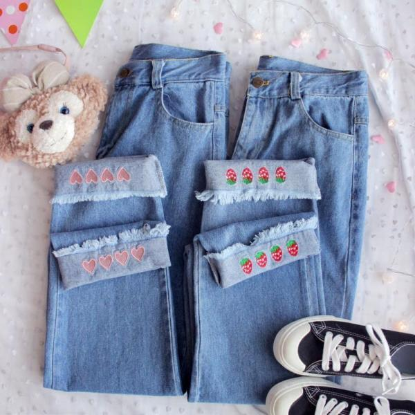 Kawaii Heart Strawberry Loose Jeans