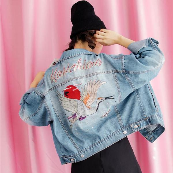 Red-crowned crane embroidery Denim Jacket