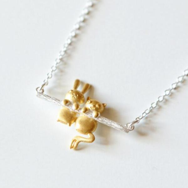 Cute Rabbit And Bear Pendant Necklace