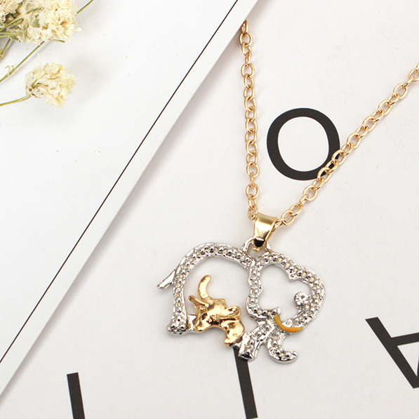 Cute animal Mother elephant and little elephant pendant necklace