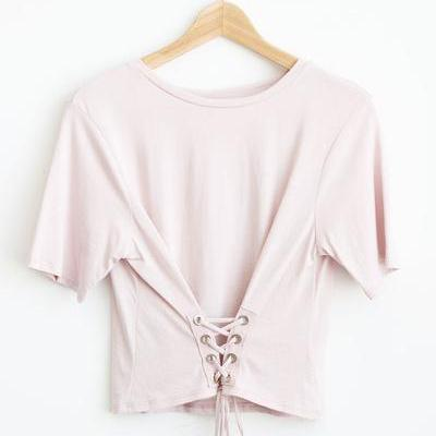 Crew Neck Short Sleeves Corset T-Shirt