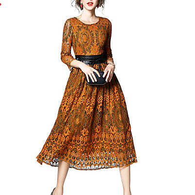 Yellow color Gold House Women's Sophisticated Sheath Lace Dress