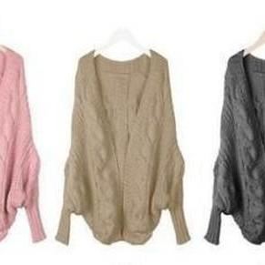 Batwing Knitted Open Front Cardigan