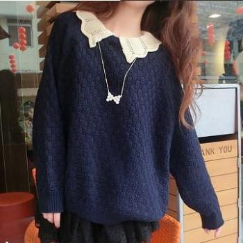 Wavy Collared Pullover Sweater