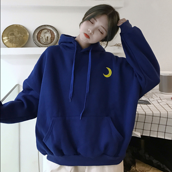 ulzzang harajuku bf style moon and letters embroidery hoodie sweater