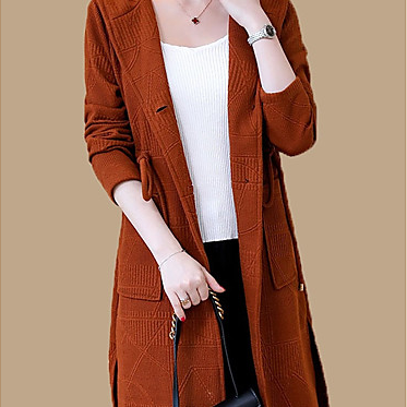 women's solid colored hooded long sleeve long cardigan