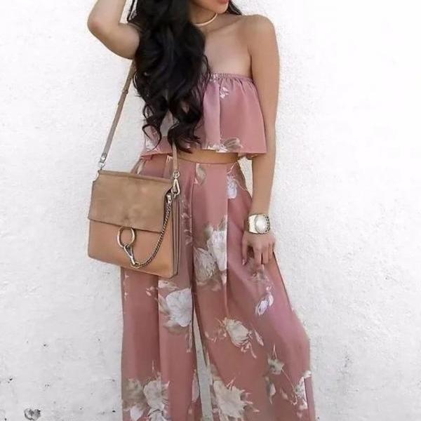 Fashion Women Two Piece Summer Off the Shoulder Floral Print Crop Top with Split Pants Set
