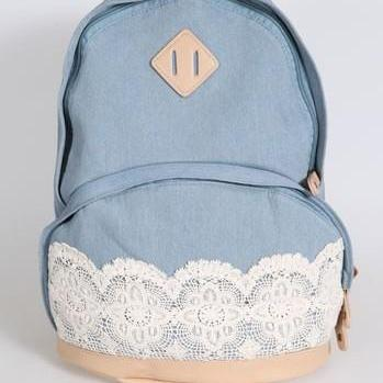 New Denim Authentic Lace Backpack