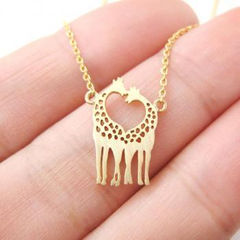 Giraffe Shaped Animal Themed Charm Bracelet necklace,Giraffes in Love Layering Necklace