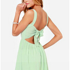 Mint Green Spaghetti Strap Backless Bow Dress
