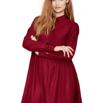 Wine Red Long Sleeve Lapel Pleated Dress