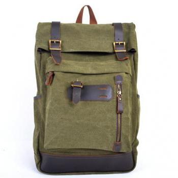 Army Green Canva Backpacks Canvas-Leather Backpacks School Backpack