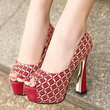 Mixed Colors Fish Head High Heels Shoes