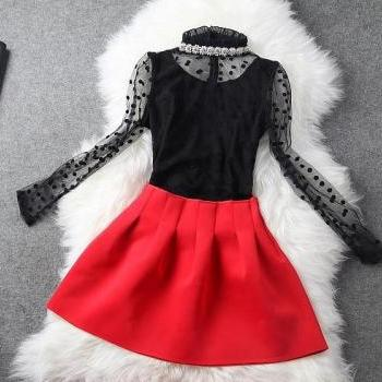 Nail Bead Coat + Red Skirt Two-Piece