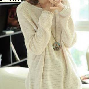 Beige Loose Bat Sleeve Hollow Sweater