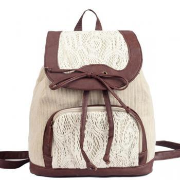Bowknot Backpack With Lace Detail
