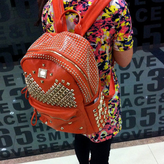 Cool Punk Style Rivet Pure Backpack - Orange